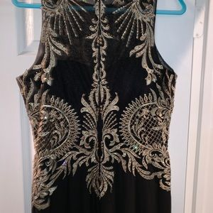 Cachet Dresses - Stunning black and gold formal dress